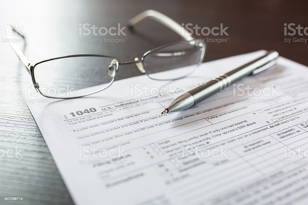 Tax form 1040 for individual tax return stock photo
