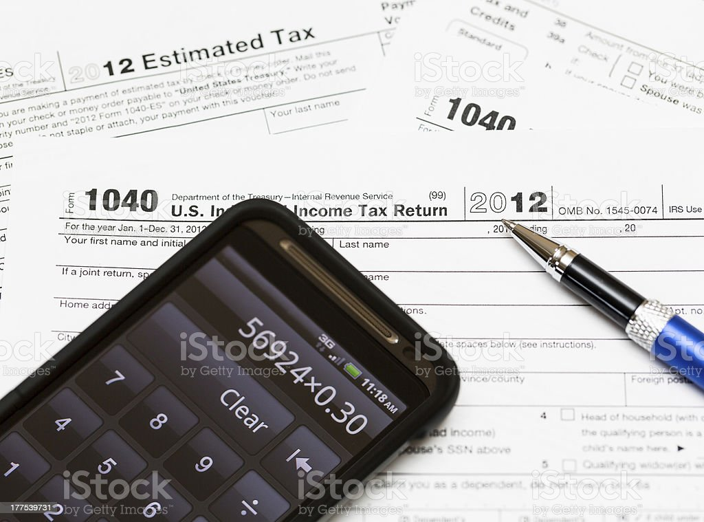 USA tax form 1040 for year 2012 royalty-free stock photo