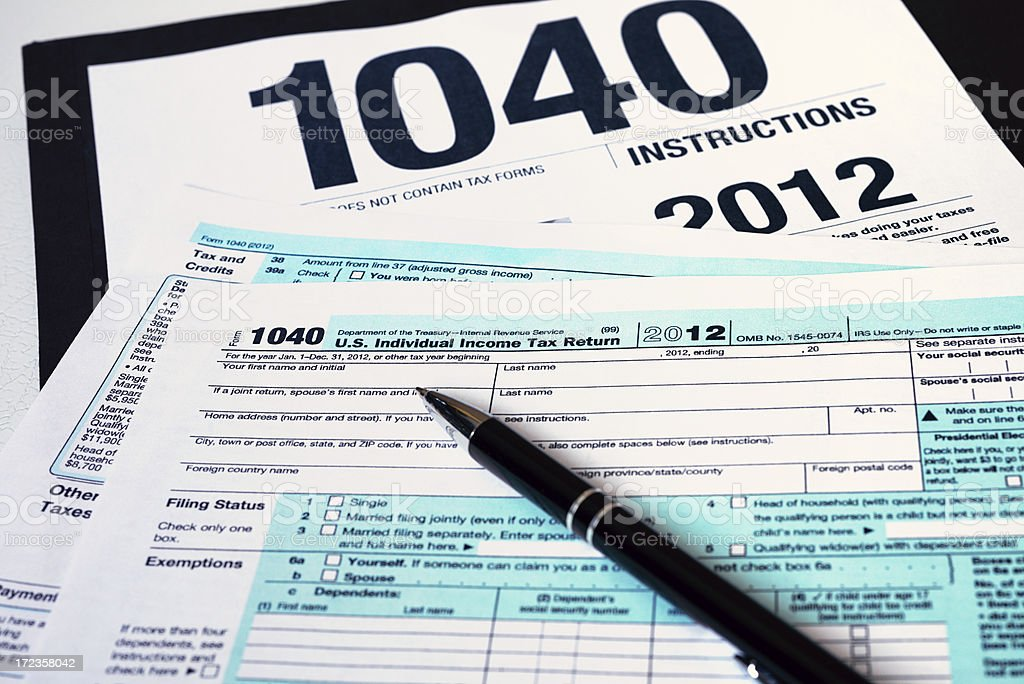 US 2012 Tax Form 1040 royalty-free stock photo