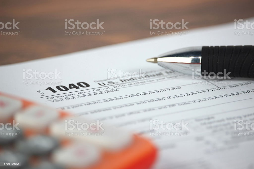 US tax form 1040 stock photo