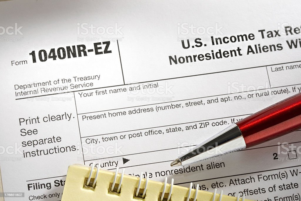 Tax form and pen royalty-free stock photo