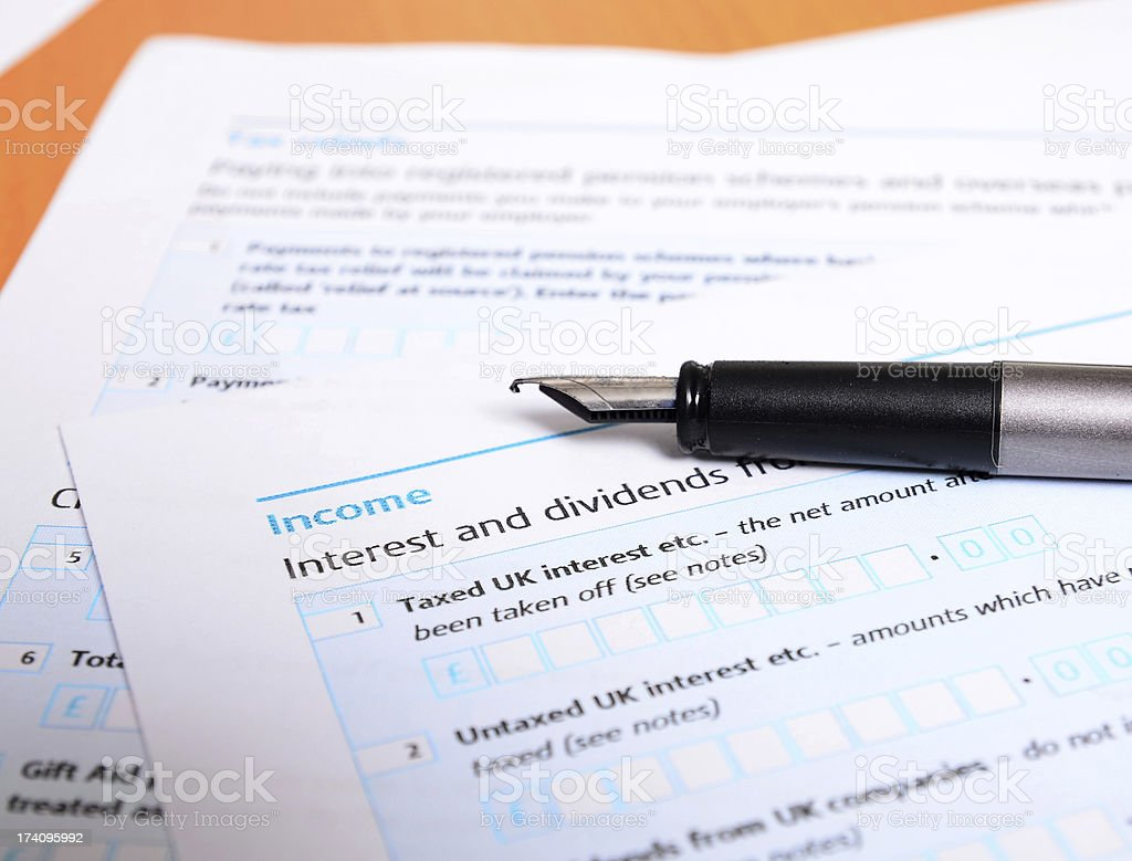 UK tax form close up royalty-free stock photo