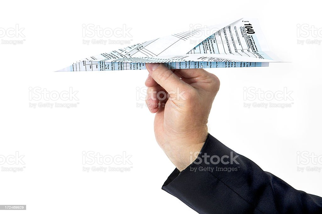 Tax form paper airplane royalty-free stock photo