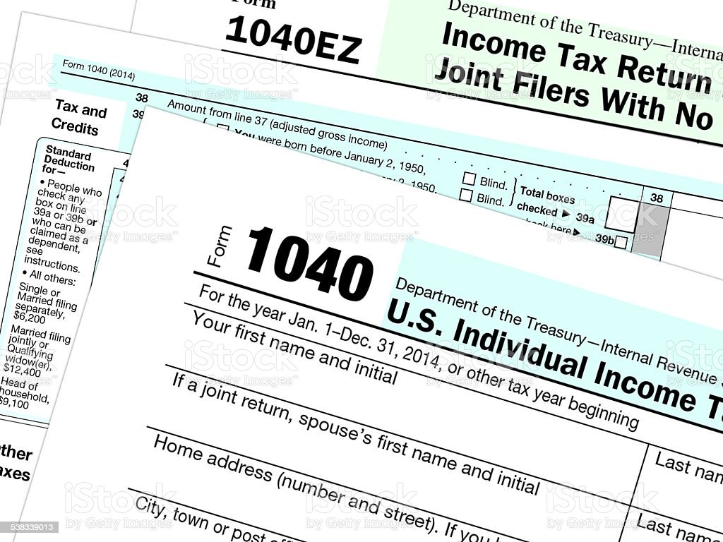 Tax form papers and applications stock photo