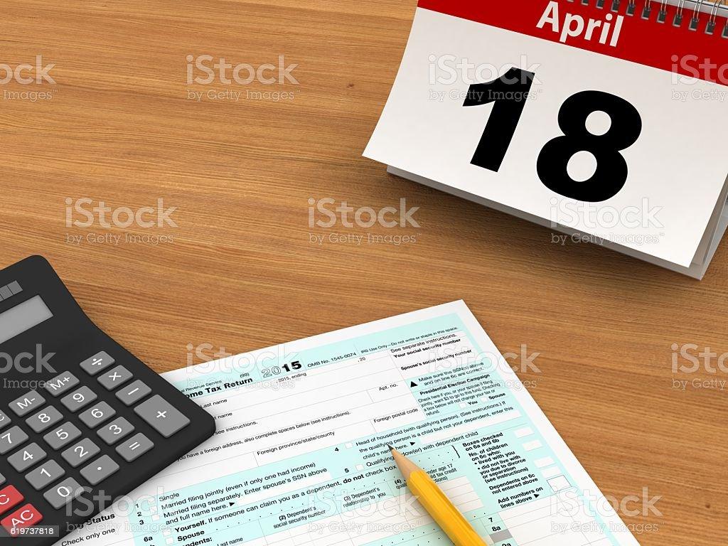 Tax form payment calendar stock photo
