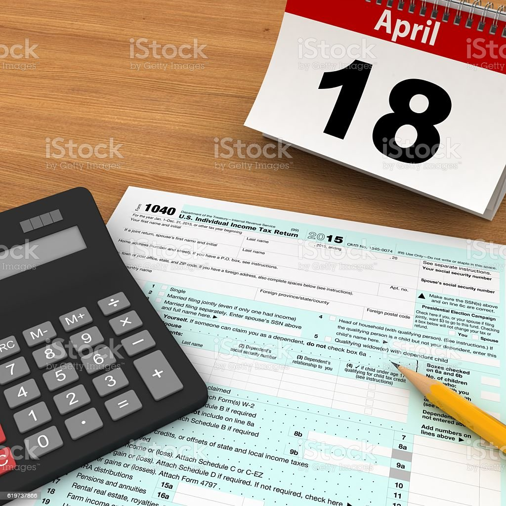 Tax form payment calendar stock photo