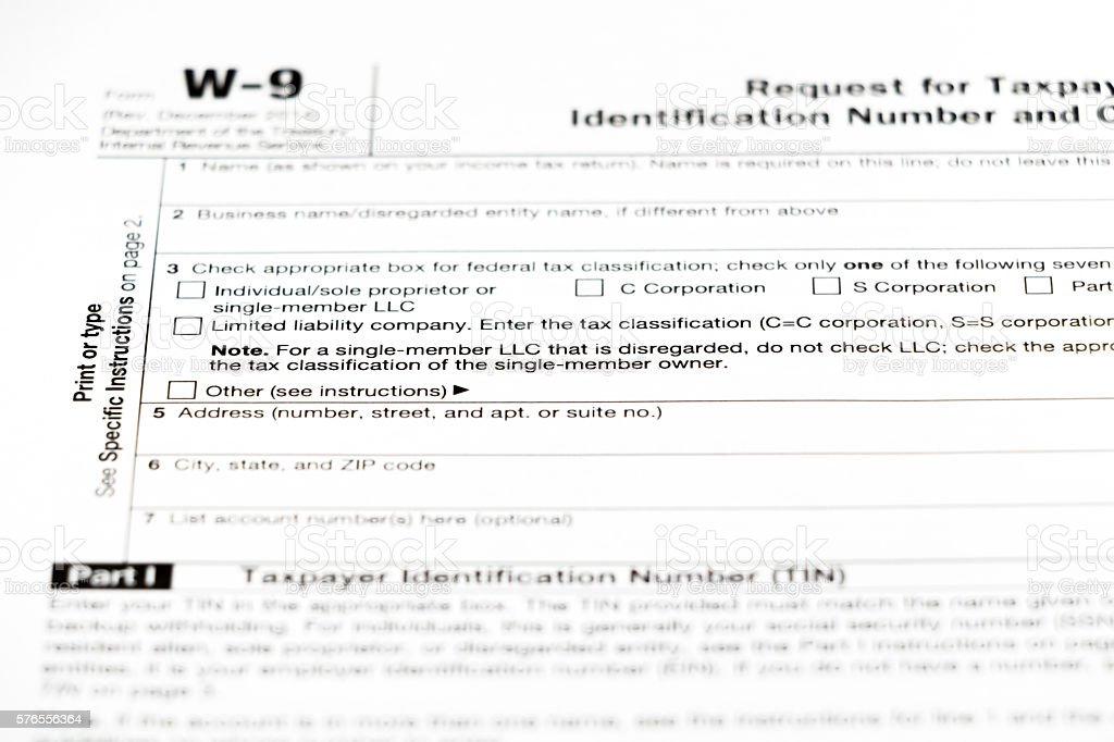 W9 Tax Form stock photo