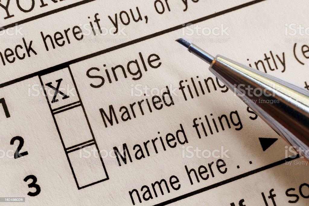 U.S. Tax Form - 'Single' Filing Status stock photo