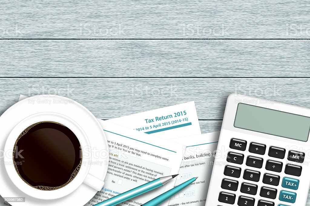 UK tax form with calculator, coffee lying on wooden desk vector art illustration