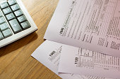US tax form with pen taxation concept