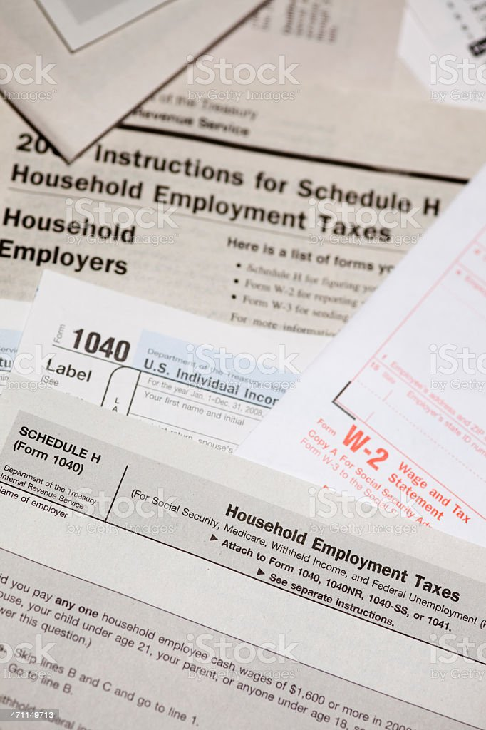 US Tax Forms 1040 stock photo