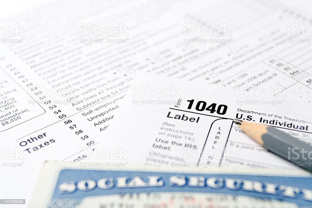 Tax forms and Social Security Card stock photo