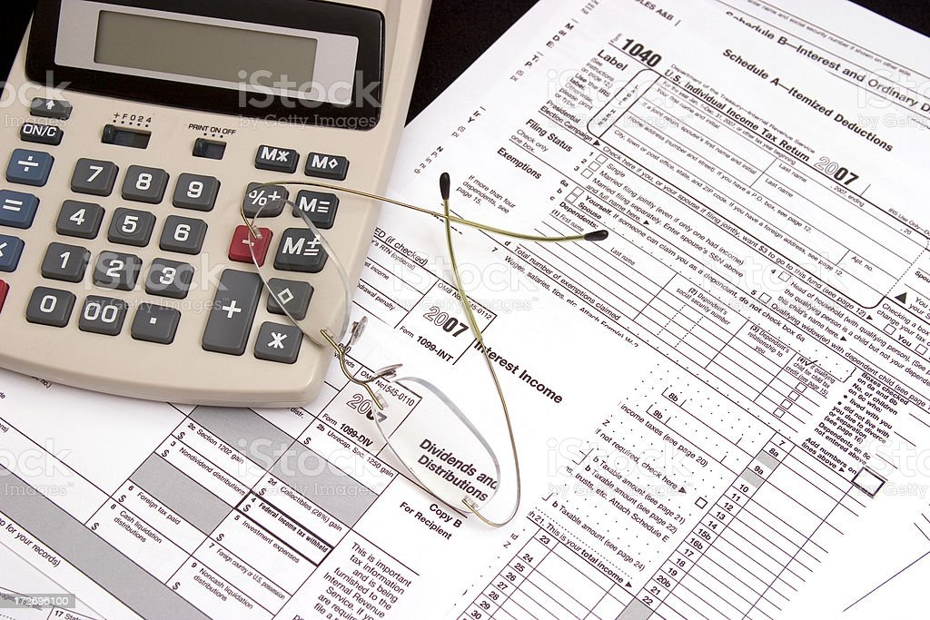 US Tax Forms - Interest Dividends Income royalty-free stock photo