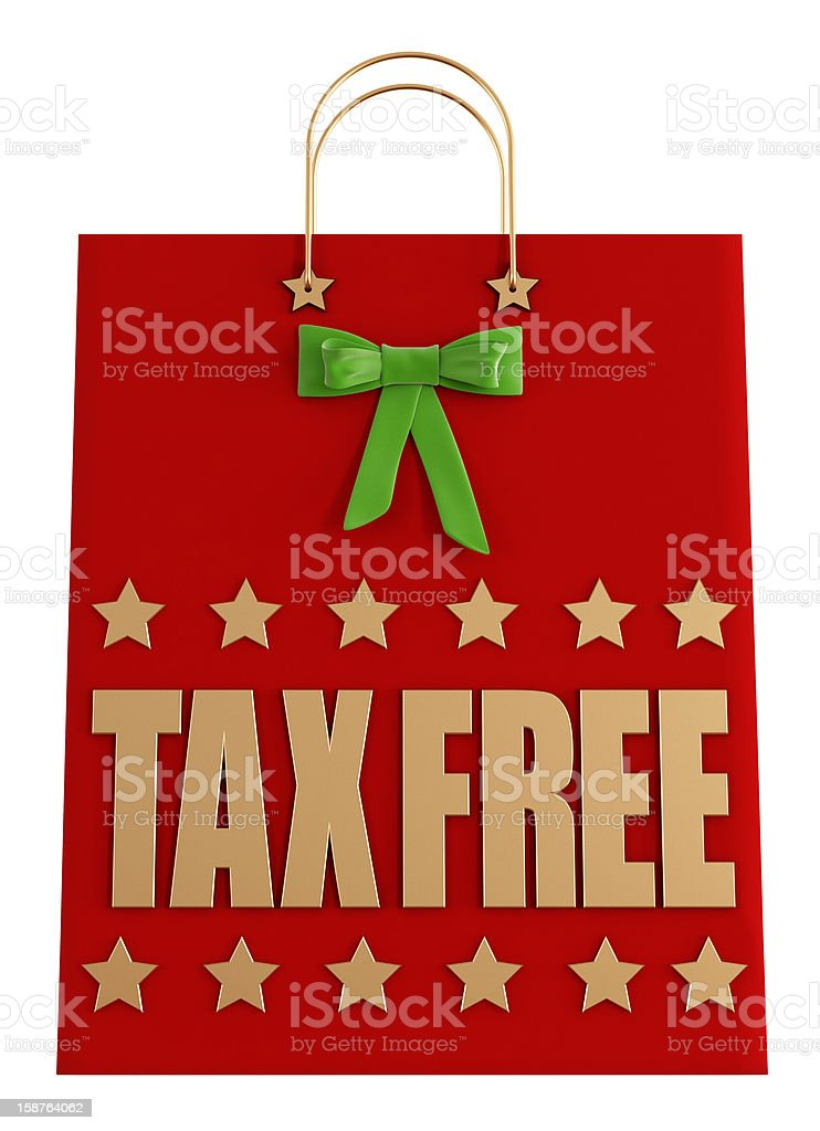 Tax free  christmas shopping bag stock photo