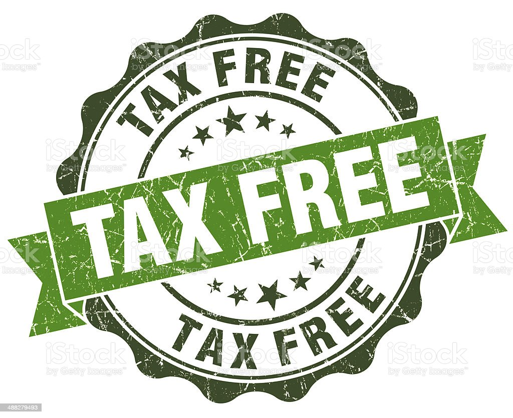 Tax free green grunge retro style isolated seal stock photo