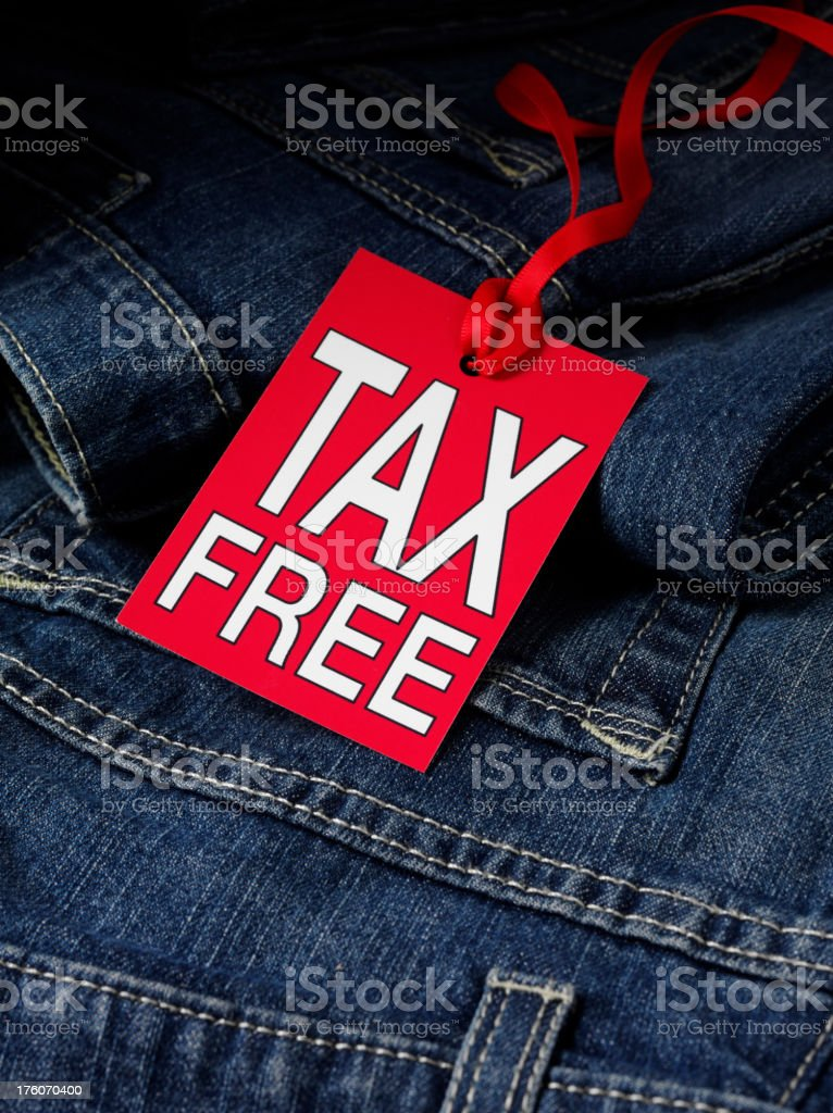 Tax Free label on Denim Jeans royalty-free stock photo