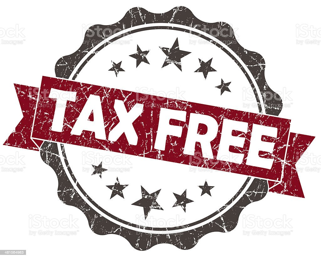 Tax Free red grunge vintage seal isolated on white stock photo