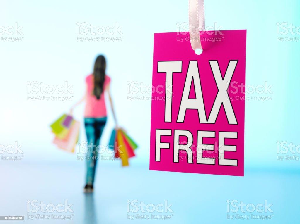 Tax Free Shopping Label stock photo