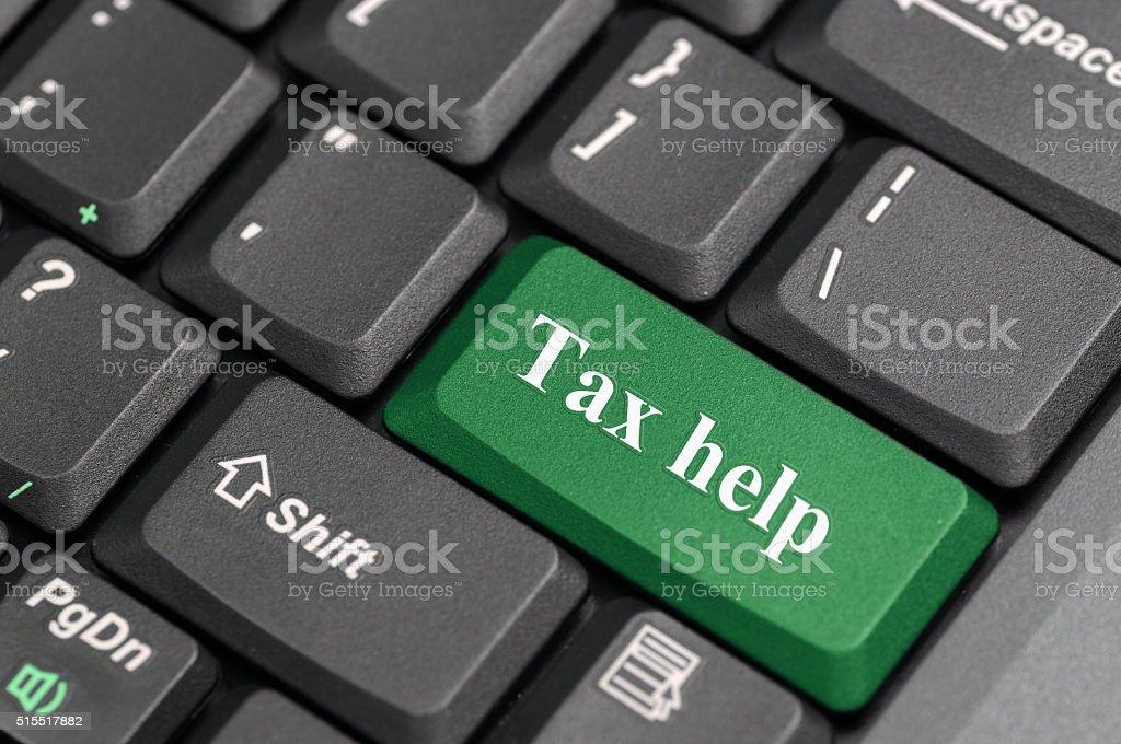 Tax help key on keyboard stock photo