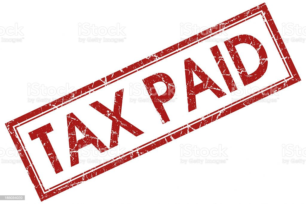 tax paid red square stamp stock photo
