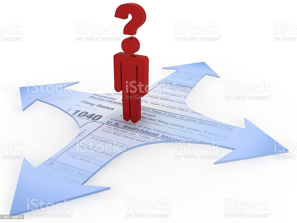 Tax payment choice question planning future concept stock photo