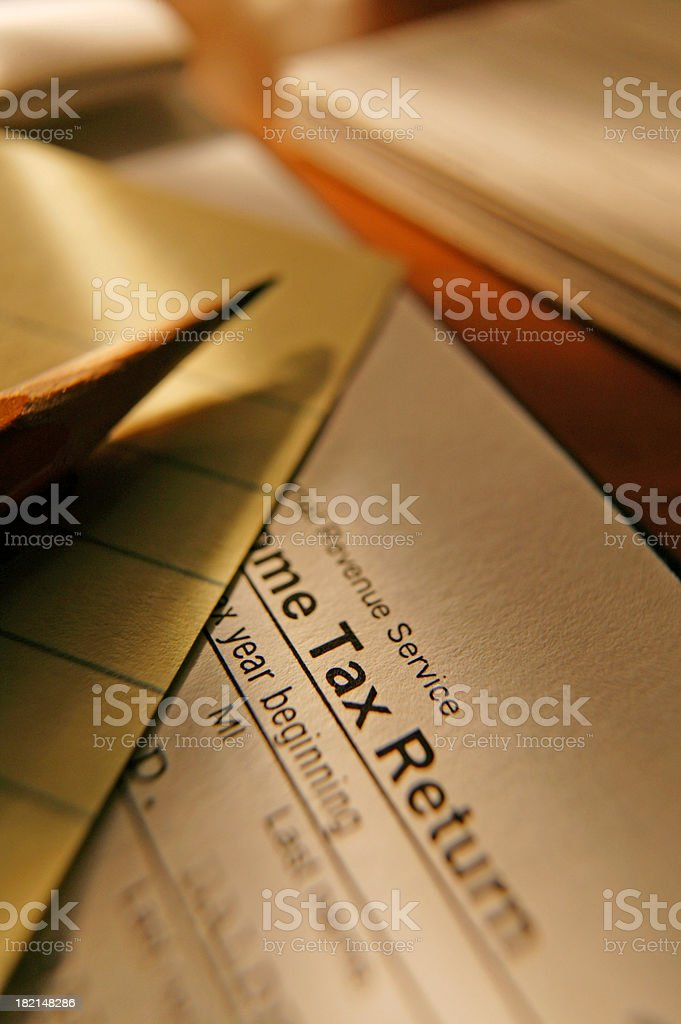 Tax preparation scene royalty-free stock photo