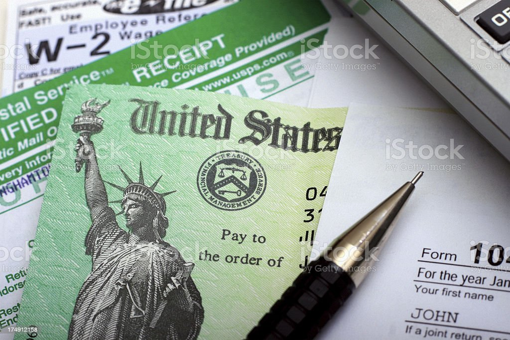Tax Refund Check and Documents stock photo