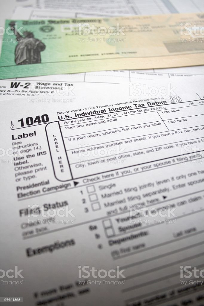 Tax Refund Check and Forms stock photo