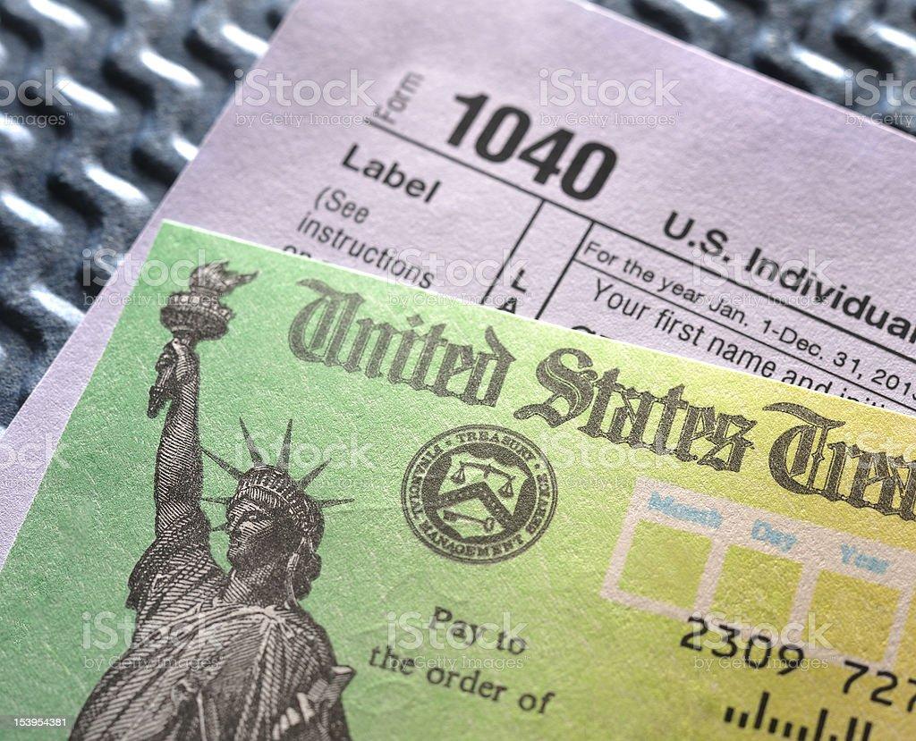 IRS Tax Refund check & return stock photo