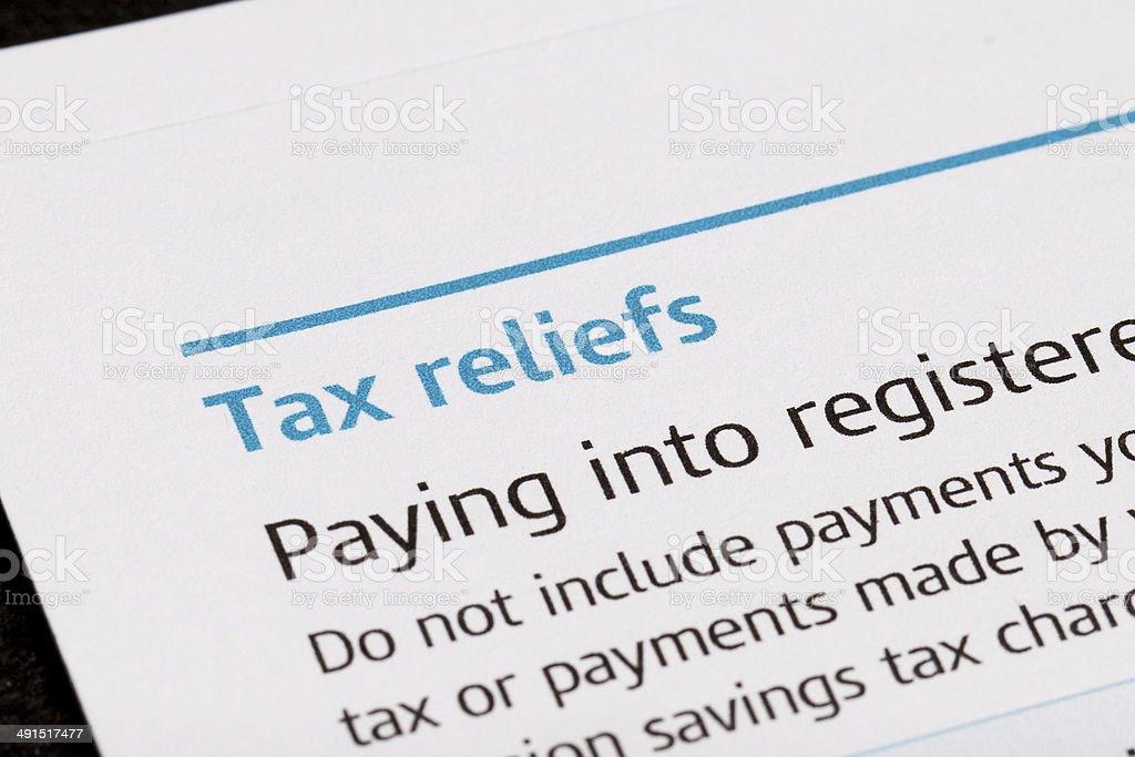 Tax reliefs stock photo