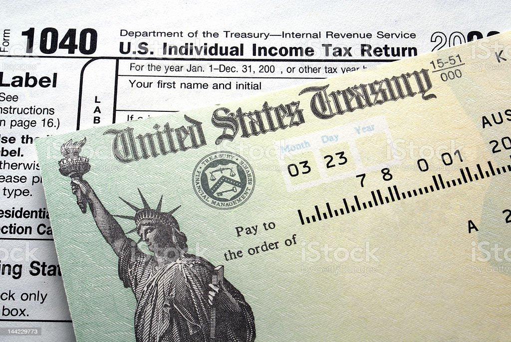 Tax return check stock photo