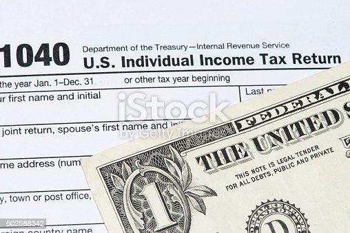 Irs Tax Return Form 1040 And Dollar Bill Stock Photo 502588342 Istock