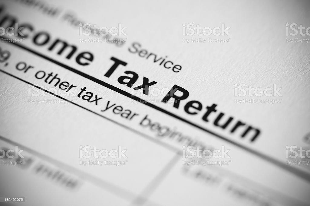 Tax Return Form close-up concept stock photo