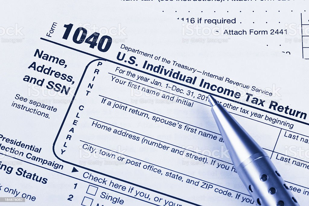 US 1040 Tax Return Form with Pen stock photo