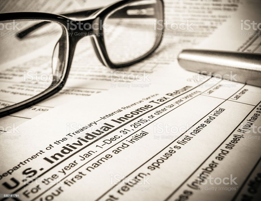 Tax Return Forms For 2015 stock photo