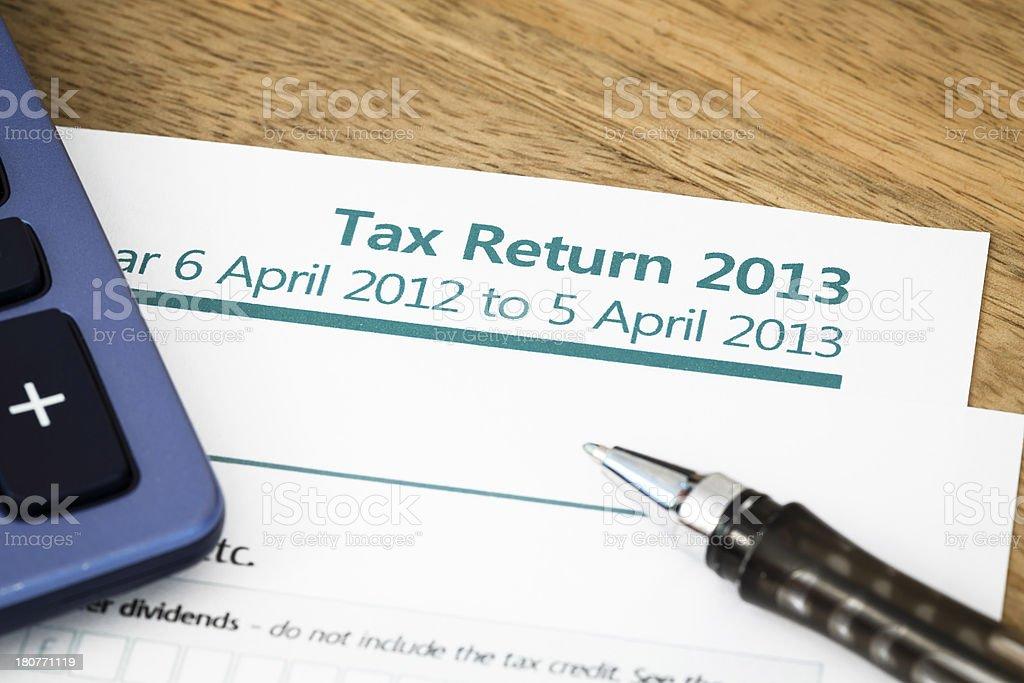 Tax return UK 2013 royalty-free stock photo