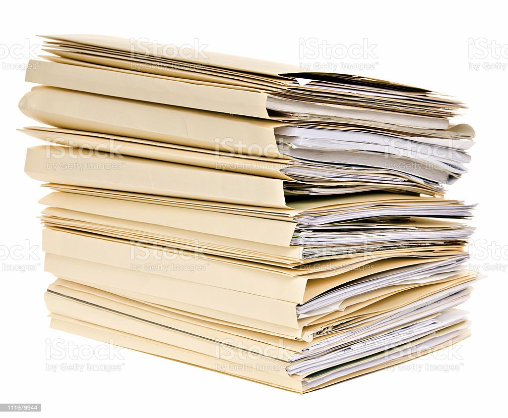 Tax Season, Stack of File Folders, Isolated stock photo