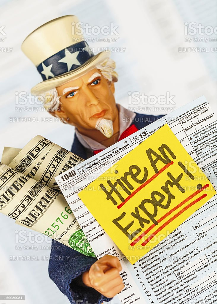 Tax Season: Uncle Sam Reminds You to Hire an Expert! royalty-free stock photo