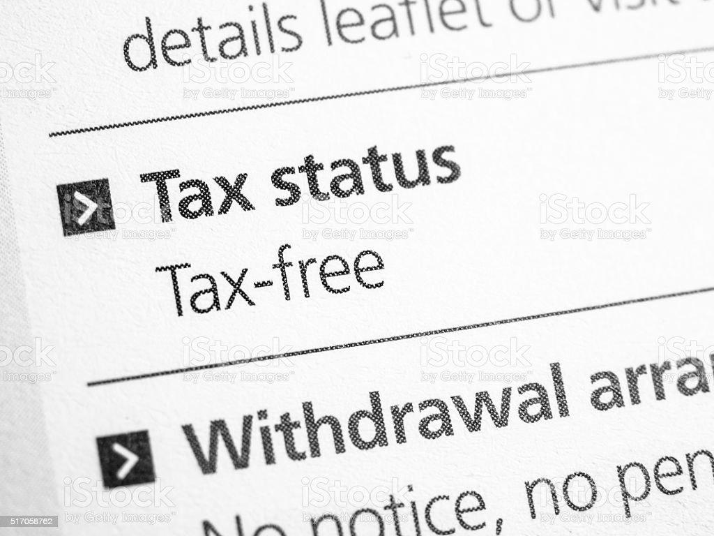 Tax status stock photo