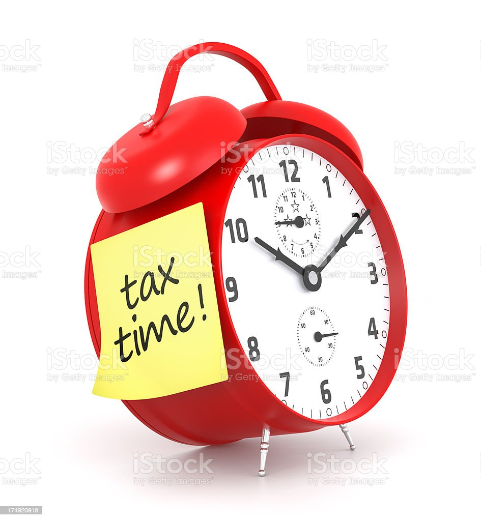 Tax Time and Red Clock royalty-free stock photo
