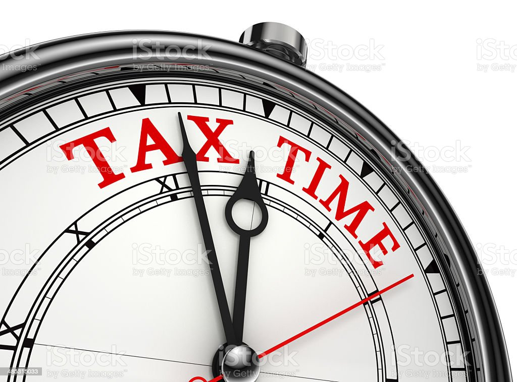 tax time concept clock closeup vector art illustration