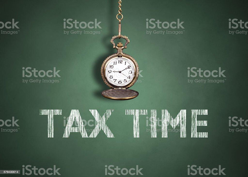 Tax time on blackboard stock photo