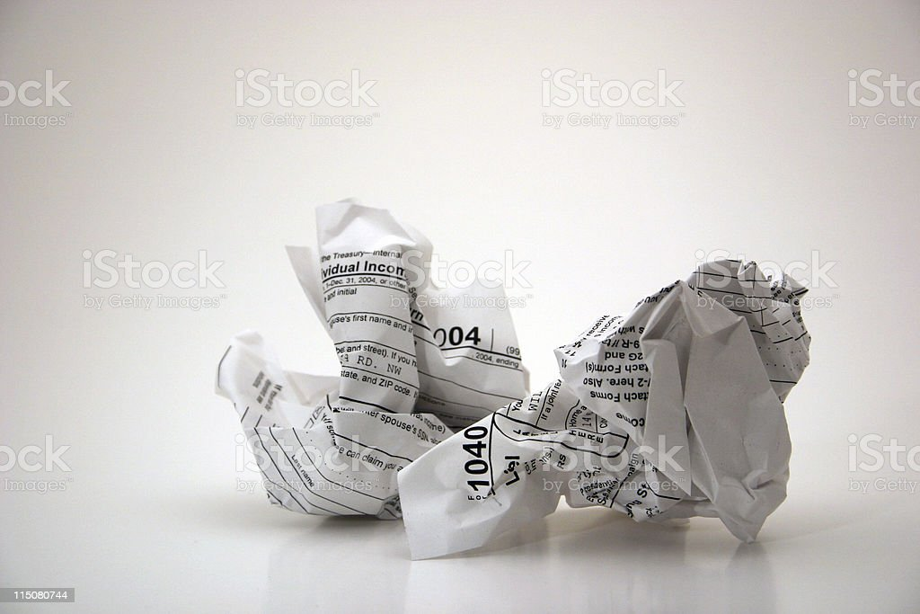 Tax time (frustration with taxes) stock photo