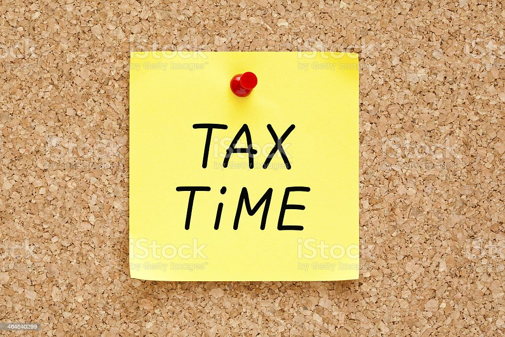 Tax Time Sticky Note stock photo