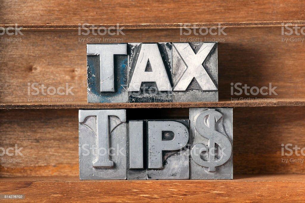 tax tips tray stock photo
