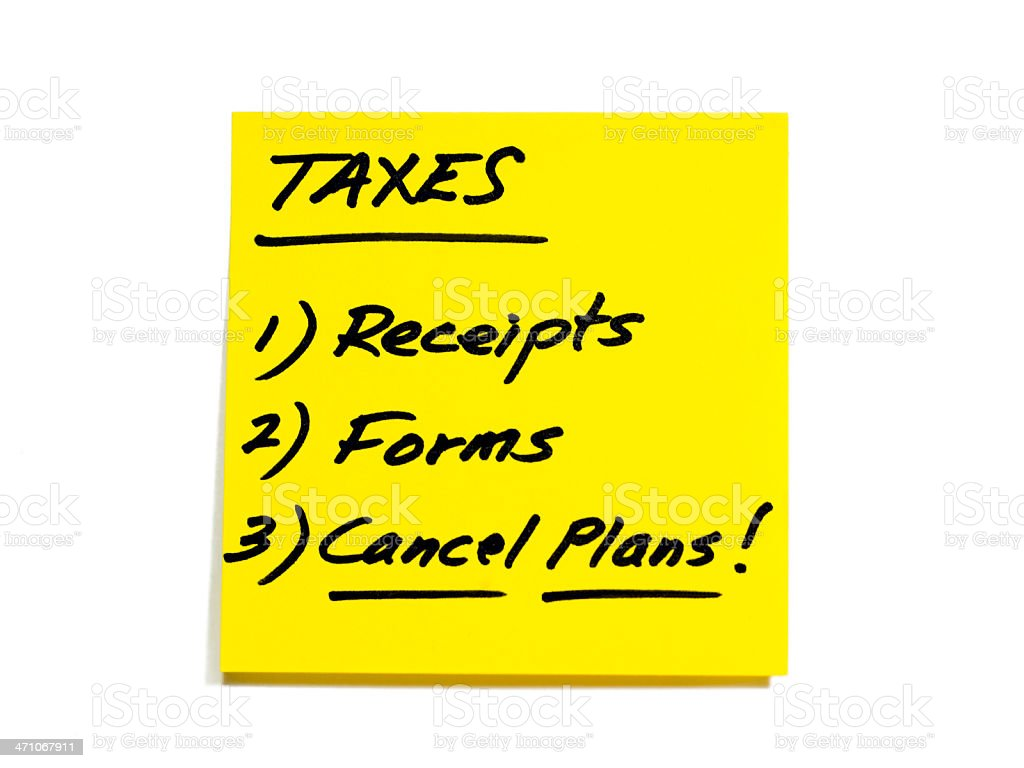 Tax To-Do List Series - Receipts, Forms, Cancel Plans stock photo