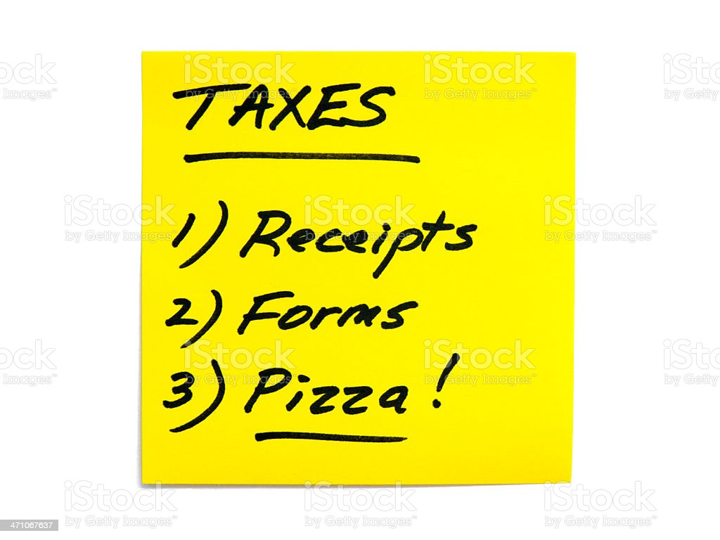 Tax To-Do List Series - Receipts, Forms, Pizza stock photo