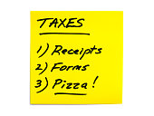Tax To-Do List Series - Receipts, Forms, Pizza