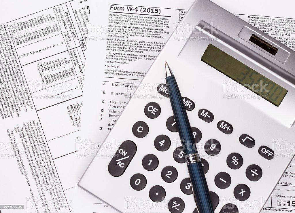Tax W-4 Preparation stock photo