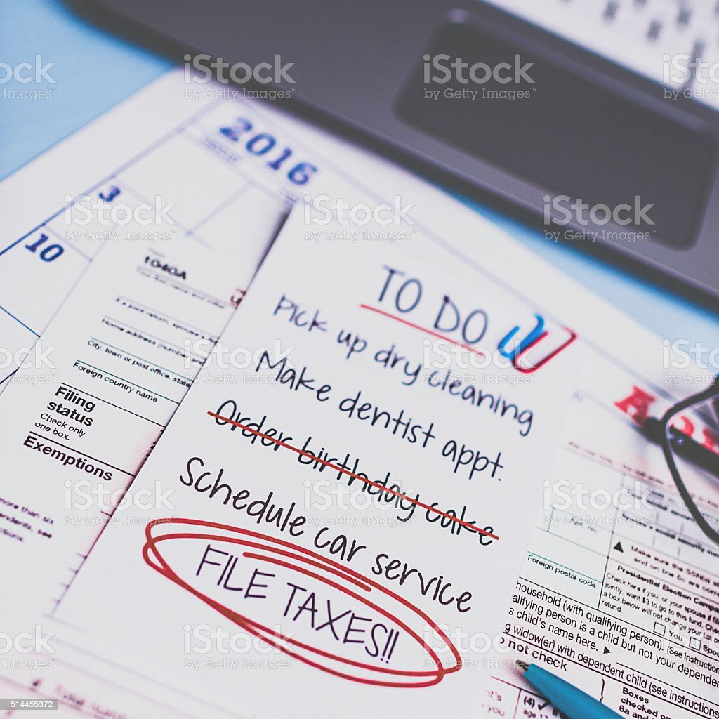 Taxes Preparation With To Do List Highlighting File Taxes Royaltyfree Stock  Photo